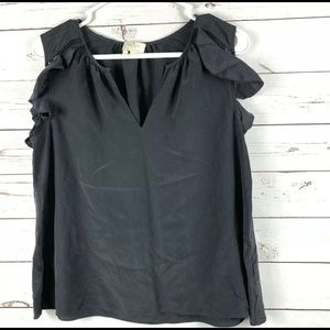 Kate Spade black silk blouse Ruffled top as Medium